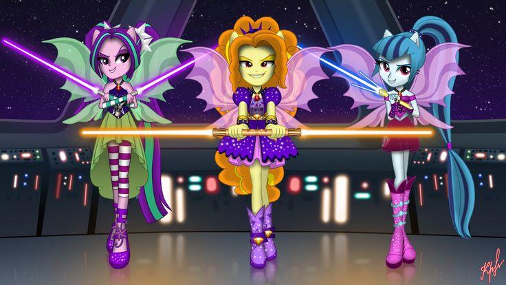 #1124771 - adagio dazzle, aria blaze, artist:viktor-tyt, crossover, equestria girls, fin wings, jedi, lightsaber, ponied up, safe, sonata dusk, star wars, the dazzlings, weapon - Derpibooru - My Little Pony: Friendship is Magic Imageboard
