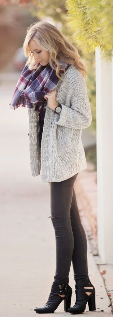 #street #style / plaid scarf + knit