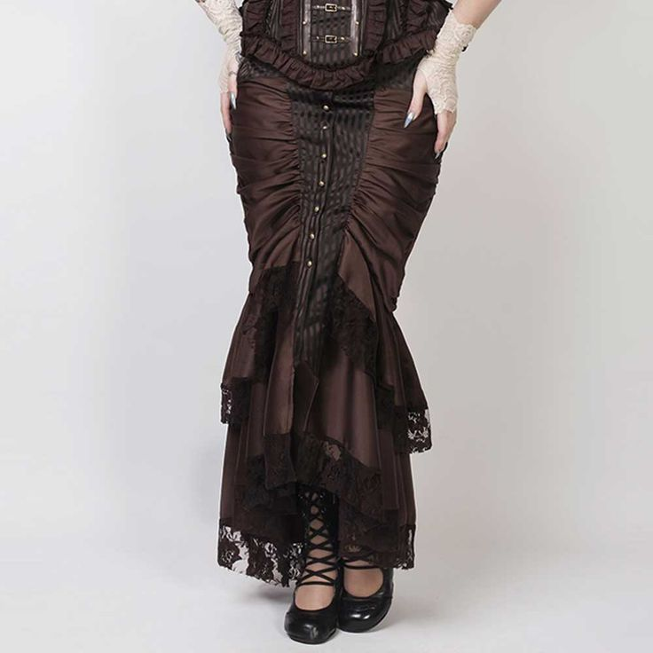 VG London Steampunk Victoriaanse gedrapeerde mermaid rok met lage tail