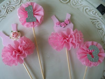 tutu cake toppers--could be altered to fairies for the girls' enchanted garden party!