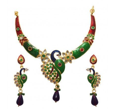 Multicolor Kundan Meenakari Peacock Necklace Set - 2103606 - Necklace Sets - Fashion Jewelry