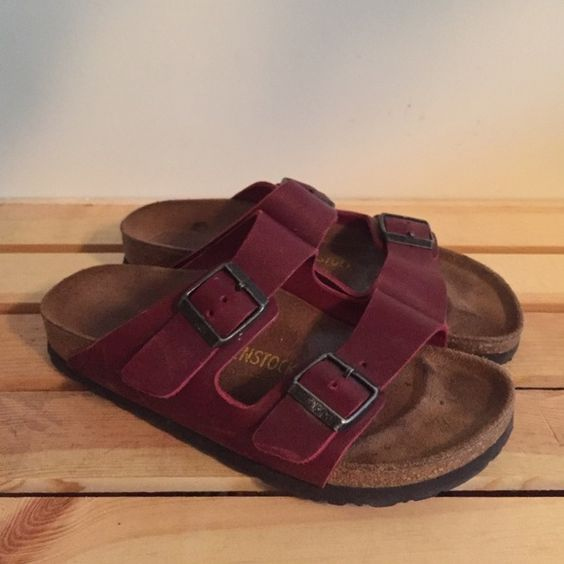 Red leather Birkenstocks I love these so much but they're to small on me! Birkenstock Shoes Sandals