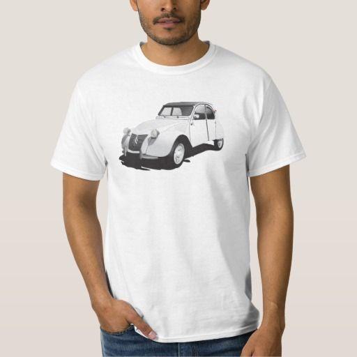 Citroën 2CV (deux chevaux), white  #citroen2cv #citroen #automobile #classic #car #tshirt #
