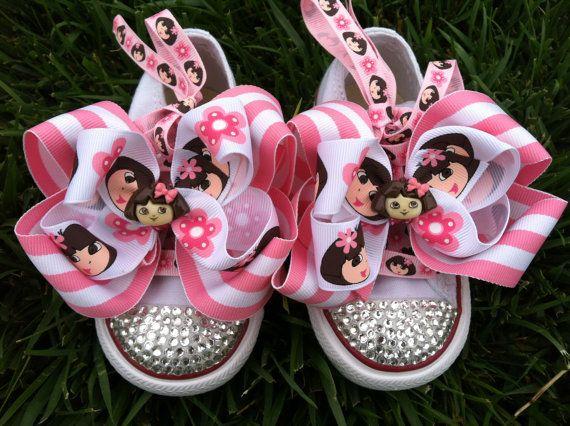 DORA THE EXPLORER Shoes  Dora Birthday  Dora Bow  by SparkleToes3, $69.99