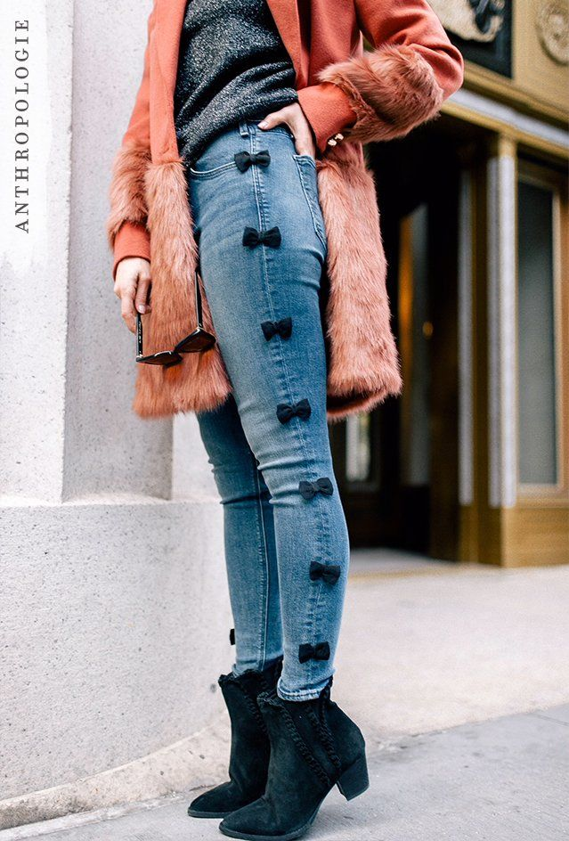 Not a fan of the coat but the jeans are super cute and I wanna DIY some like that!
