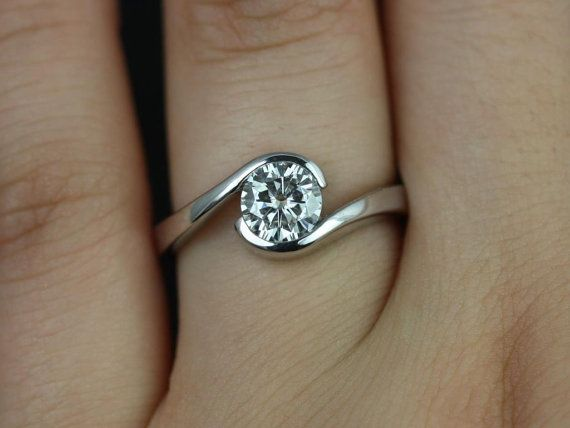 Vadim Original Size 14kt White Gold Single Twist FB Moissanie Engagement Ring (Other Metals and Stone Options Available)