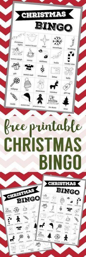 Free Christmas Bingo Printable Cards. Christmas bingo holiday game for a Christmas party or classroom party activity. Christmas bingo boards. #papertraildesign #christmasbingo #christmasgames #kidschristmasparty