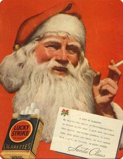 Santa himself enjoying a smoke / vintage ad for Lucky Strike cigarettes