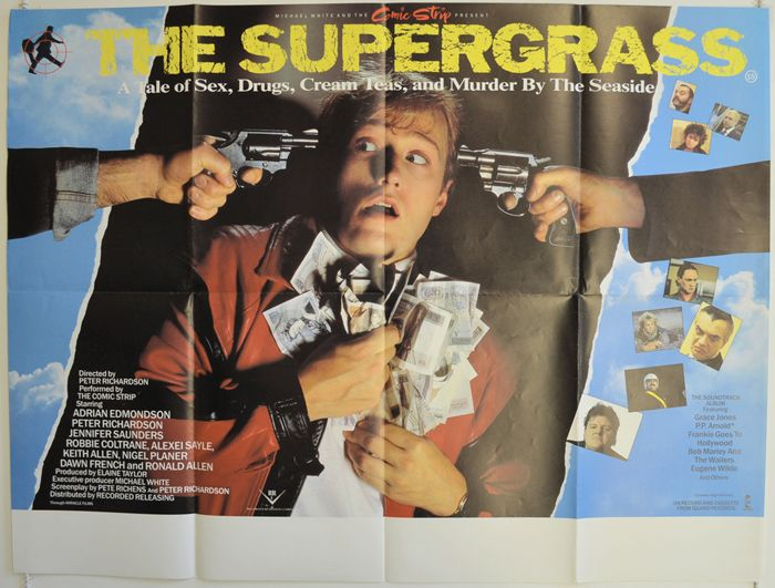 """Another discovery of some uniconic quad poster, and this time, it's """"The Supergrass"""" (starring Ade Edmondson and Jennifer Saunders (pre-Ab Fab), pre-Brexit production, 1985)  #TheSupergrass #Supergrass #AdeEdmondson #JenniferSaunders #Uniconic #Infamous (those words you describe some British entertainment even if they Brexited, but it also applies to European Union member countries' entertainment as well) #elokuvat #andmanymore"""