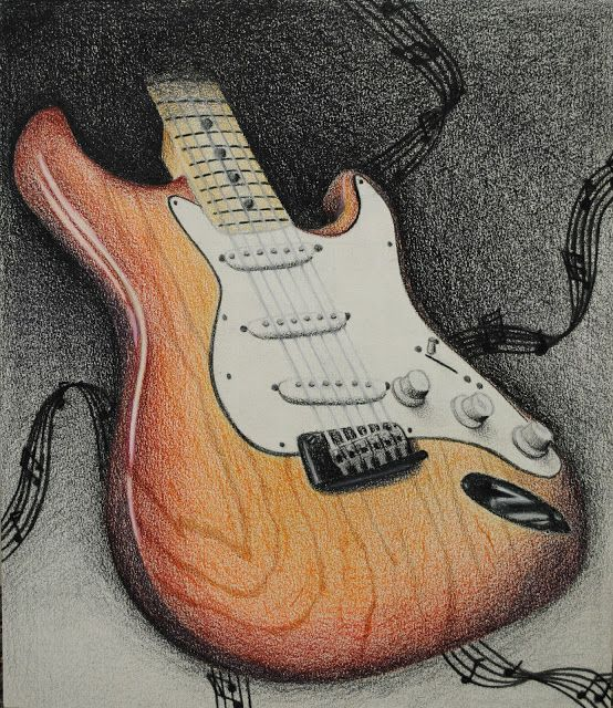 Electric Guitar Drawing- Colored Pencil