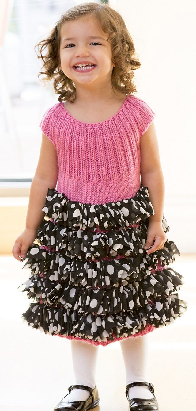 Free Knitting Pattern for Perfect Party Dress - Cute child's dress has an easy-fit ribbed top and uses special fabric ruffle yarn to create the ruffled skirt. Sizes 2, 4, 6, 8 years. Designed by Heather Lodinsky for Red Heart.