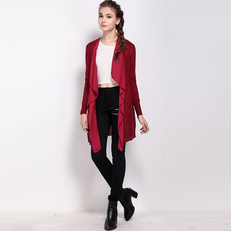 Autumn in chiffon dresses new fashion mosaic Cardigan long sweater coat | victoriaswing