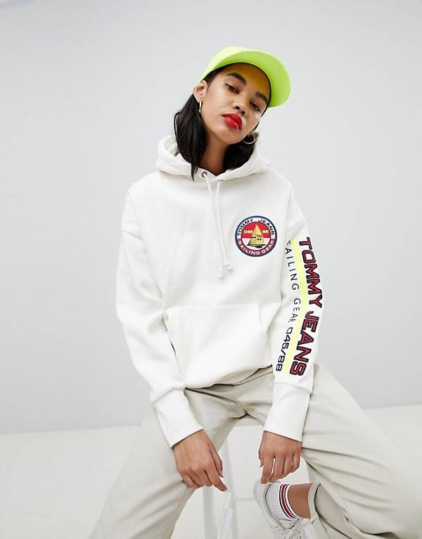 cd1209c7 Tommy Jeans 90s Capsule 5.0 Sailing Hoodie With Sleeve Logo ...