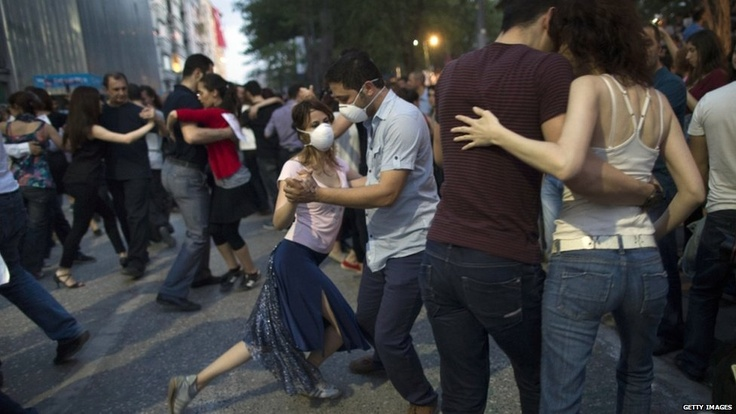 Protesters dance the tango at Gezi Park in Taksim Square on June 6, 2013 in Istanbul, Turkey