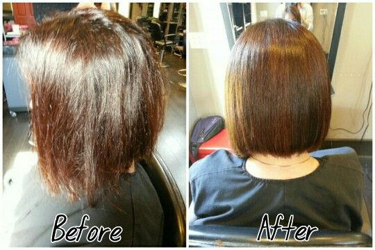 Goldwell Kerasilk Treatment with no iron work! (Hair by Katie)