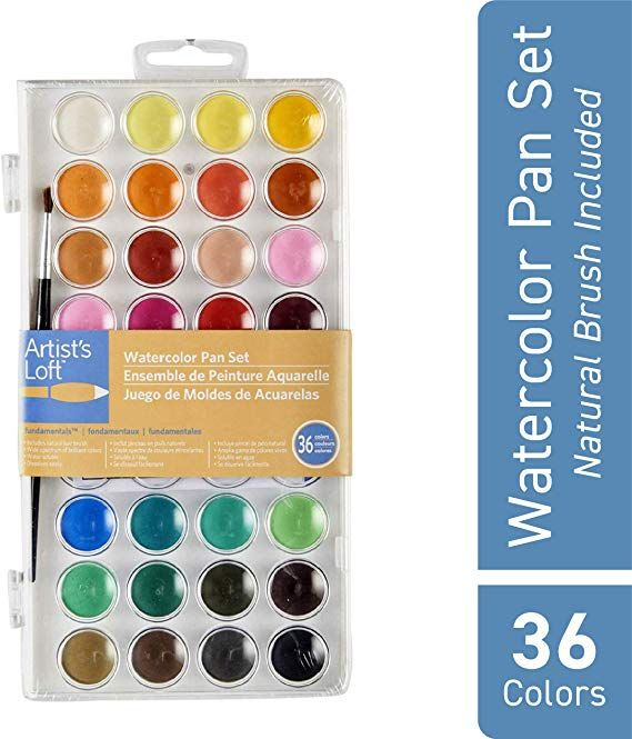 Artist S Loft 36 Color Fundamental Watercolor Pan Set With Paint