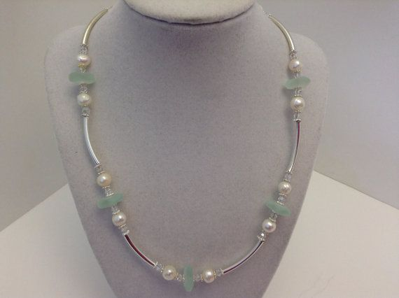 Sea foam Green Sea Glass and Pearl Necklace by kathyv552 on Etsy, $28.00