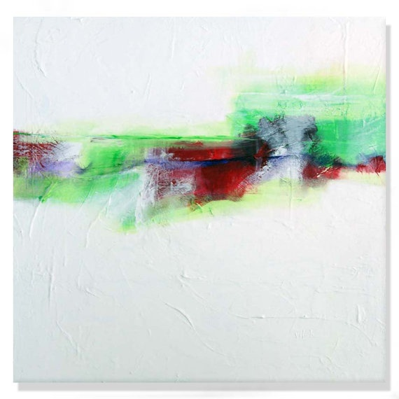 Original Abstract Painting white green red Art on by VictoriaKloch, $325.00