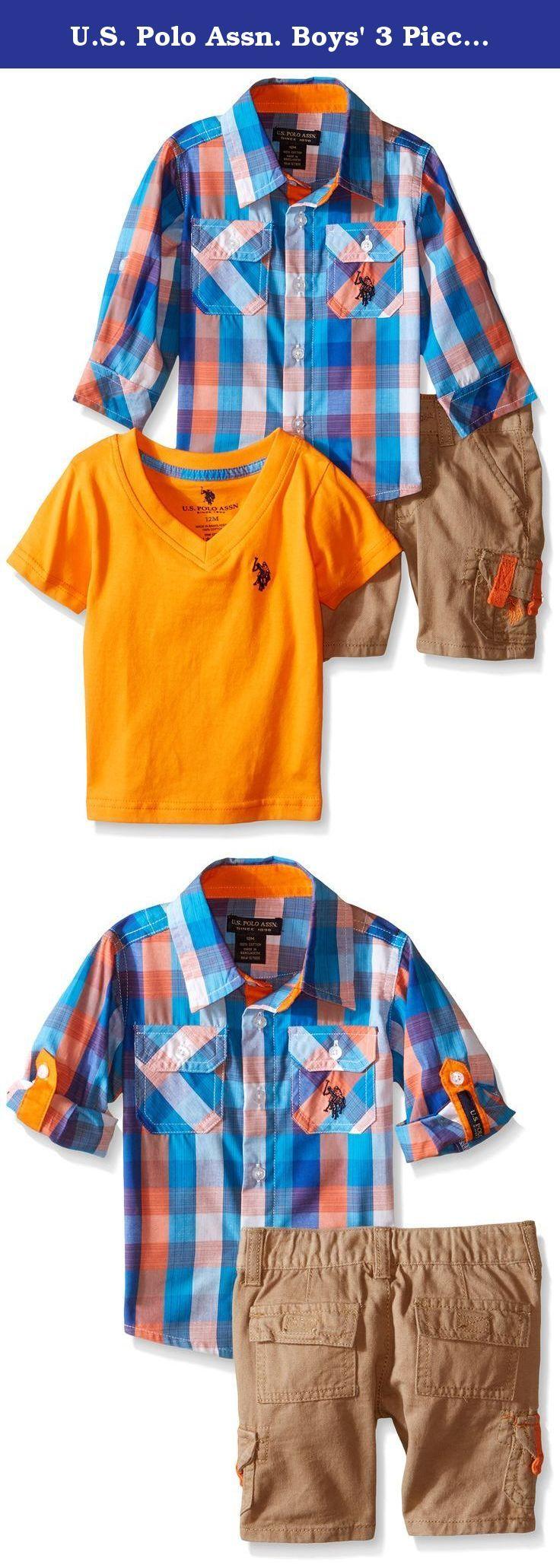 U.S. Polo Assn. Boys' 3 Piece Sport Shirt, V-Neck T-Shirt and Twill Cargo Short, Multi Plaid, 18 Months. Long sleeve plaid sport shirt, v-neck t-shirt and twill cargo short.