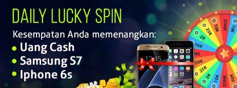 Daily Lucky Spin Kesempatan Anda untuk memenangkan hadiah dari dewafortune hadiah yang berupa : .Uang Cash .Samsung S7.Iphone6s Silahkan Rasakan nikmatnya bermain spin wheel dan nikmati hadiah menariknya hanya di www.dewafortune.com