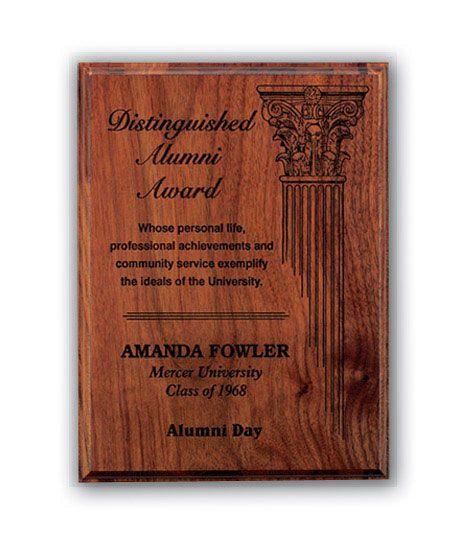 Laser Engraved Walnut Plaque Award