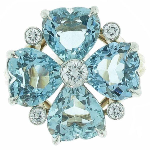 Cartier -  Aquamarine diamond ring