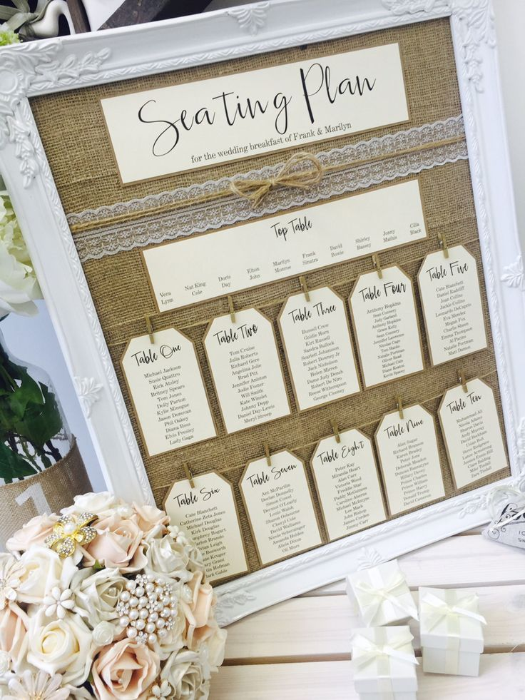 The Vow Sheffield Wedding Boutique Rustic/Antique Framed Vintage/Shabby Chic Wedding Table Seating Plan with lace Frame size 46cm x 56cm Frame colour White Hessian backboard The plan tags are approximately 11.5cm x 6.5cm, and all tags/header/top table cards are printed onto smooth 240gsm ivory card and backed on recycled 280gsm brown card with black text Maximum number of Plan Tags - 10 plus top table Maximum number of guests per table - 12 If you have less than ...