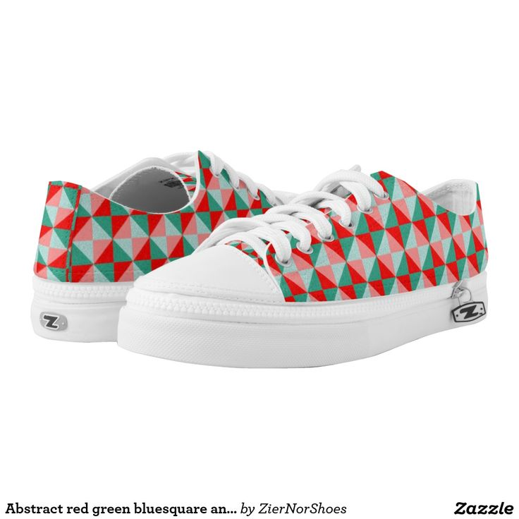 Abstract red green bluesquare and triangle Pattern Printed Shoes