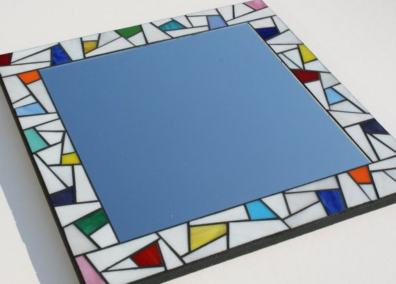 White Stained Glass Mosaic Mirror with Color by MudHorseArt, $215.00