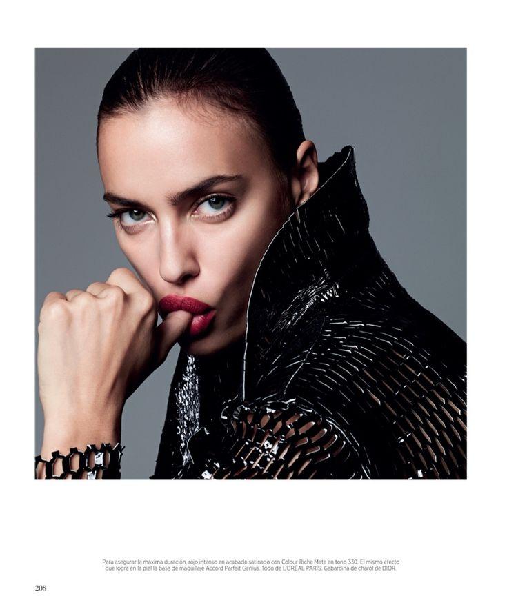 Irina Shayk makeup with bold lipstick shades for Harper's Bazaar Spain Magazine December 2015 issue Photoshoot