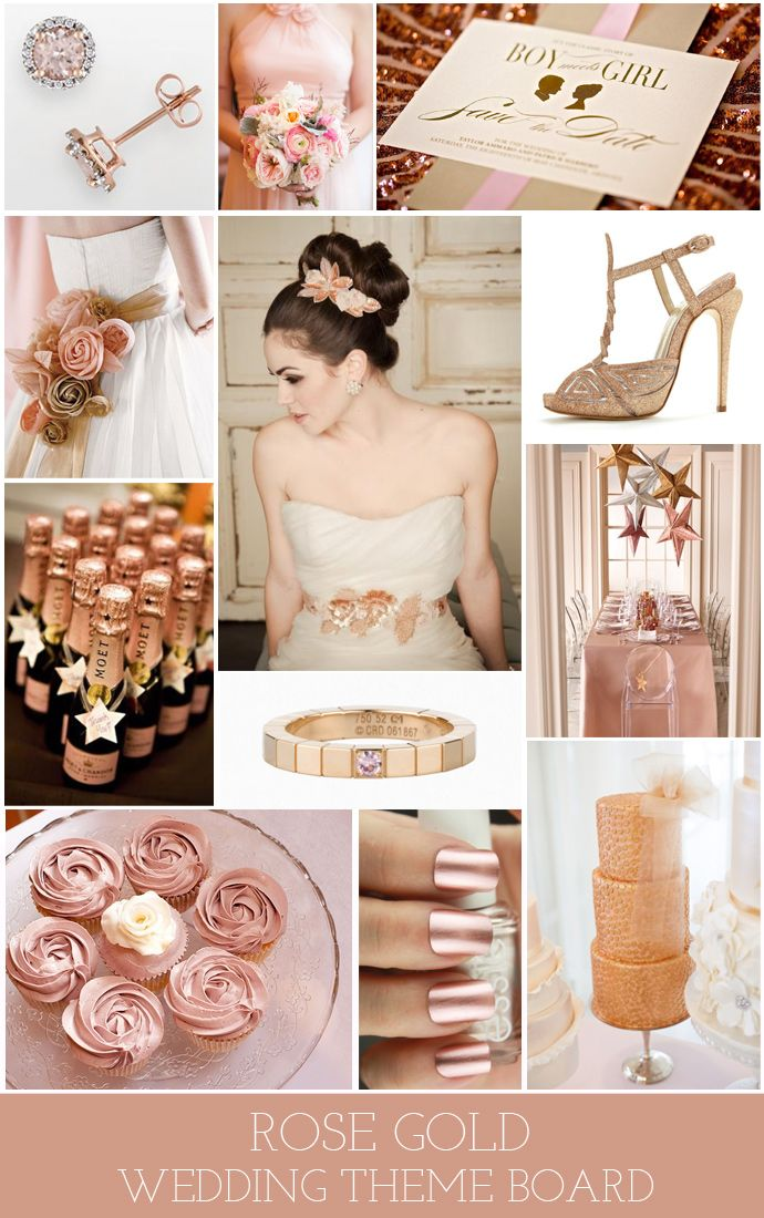Rose gold wedding theme board/colour scheme. i wonder if i could fit some red in there somewhere to make the guy happy.