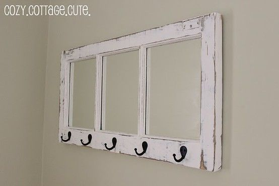 old window made into a hook rail