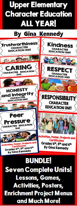 Honesty and Integrity, Kindness, Trustworthiness, Respect, Responsibility, Caring, and Peer Pressure character education units for every month of the school year! Engaging lessons, activities and projects that reinforce the importance of having good character in everyday life situations. Everything you need to reinforce the use of positive character traits in school and everyday life! Great addition to any character education curriculum, teachers  or for counselor lessons!$