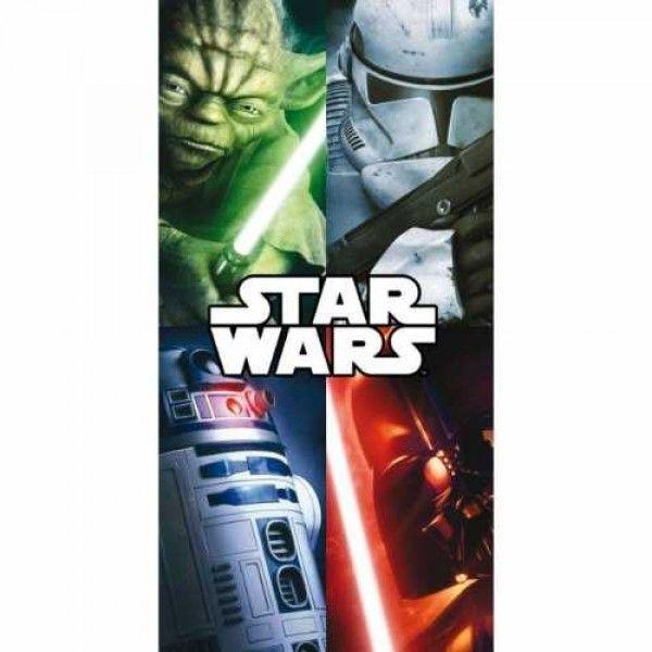 Star wars badehåndklæde med yoda, R2-D2, Darth Vader og stormtropper