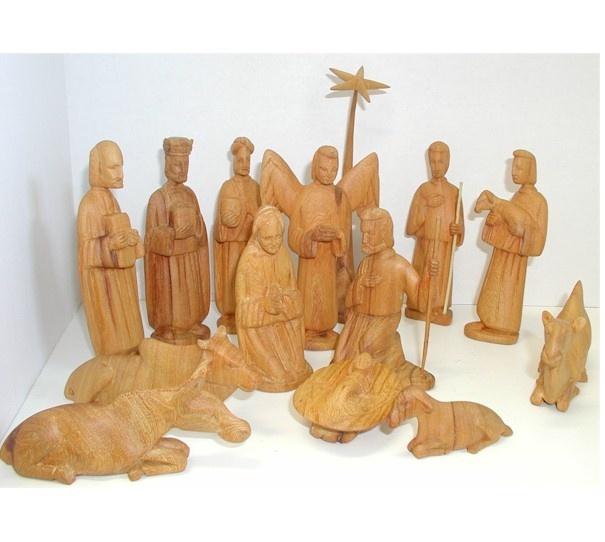 carved olive wood nativity set beautiful - Wooden Nativity Set