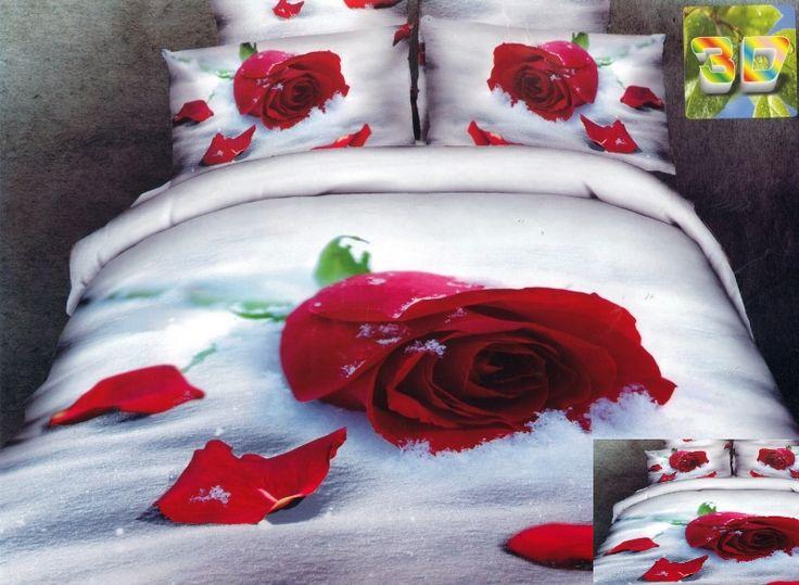 Realistyczna pościel w kolorze białym z czerwoną różą
