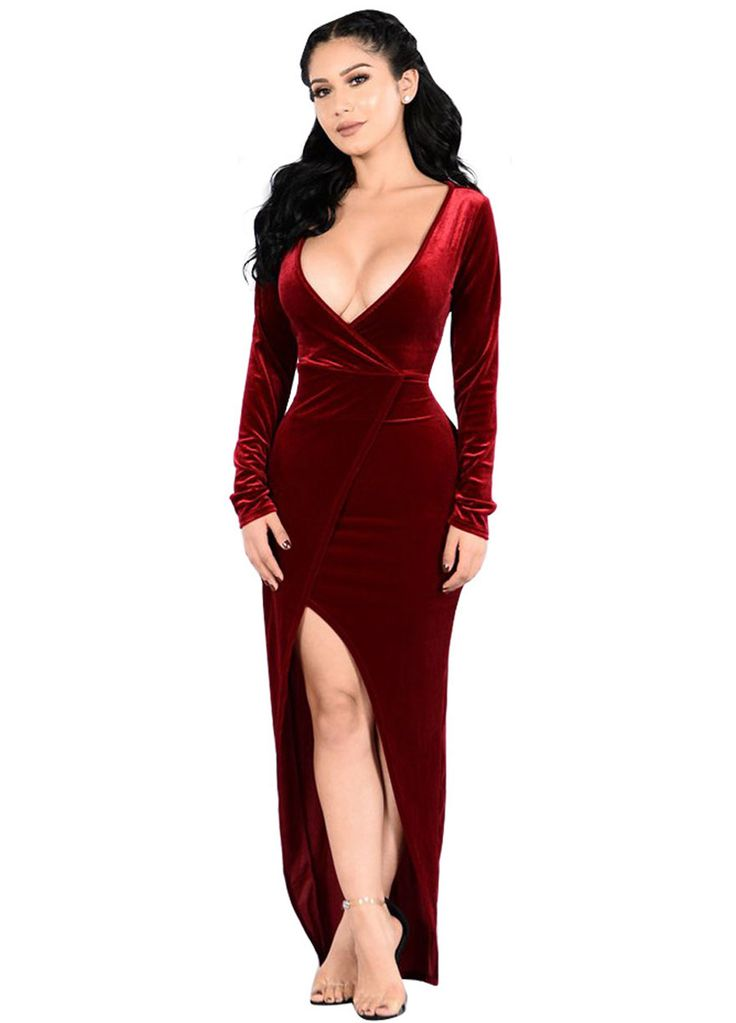 Plunge V Neck Long Sleeves Velvet Party Dress With Slit_Maxi Dress_Dresses_Sexy Lingeire | Cheap Plus Size Lingerie At Wholesale Price | Feelovely.com