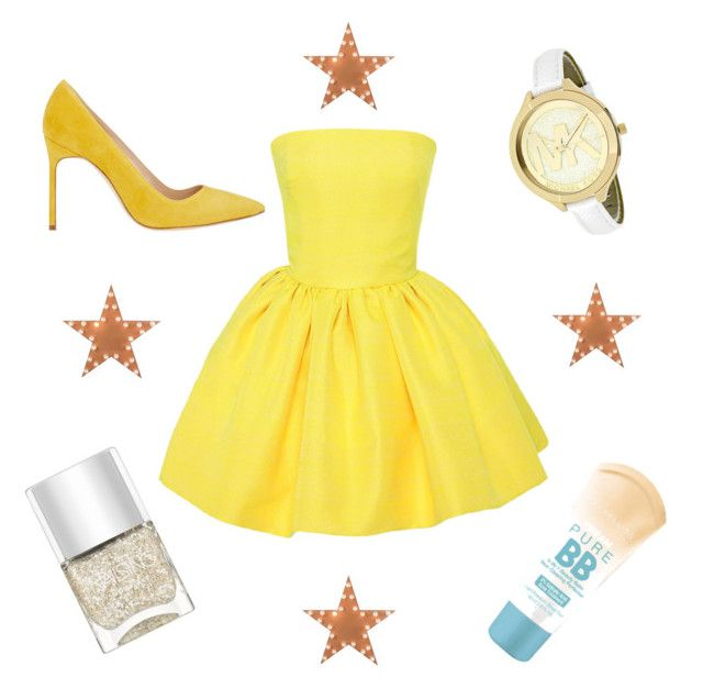 Yellow dress by helena-saetervik-fredriksen on Polyvore featuring polyvore, beauty, Nails Inc., Maybelline, Michael Kors, Martin Grant, Manolo Blahnik and Dot & Bo