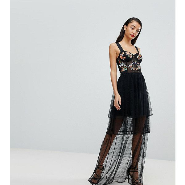 ASOS TALL Embroidered Corset Maxi Prom Dress ($91) ❤ liked on Polyvore featuring dresses, black, maxi dresses, embroidered dresses, sweetheart neckline prom dress, dressy maxi skirts and embroidery maxi dress