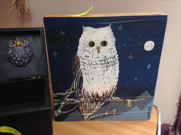 Owl painting, wood block