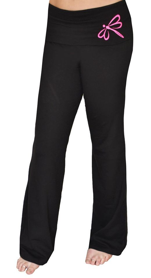 Yoga Pants by EverWear.    Made from Cotton Lycra.   Black Fold over band with Neon Pink Logo.    Fold over band available in 17 different colours.
