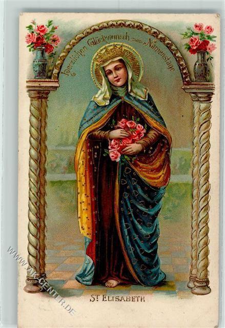 1906 Prägedruck Heilige St. Elisabeth Namenstag AK: Ansichtskarten-Center Onlineshop