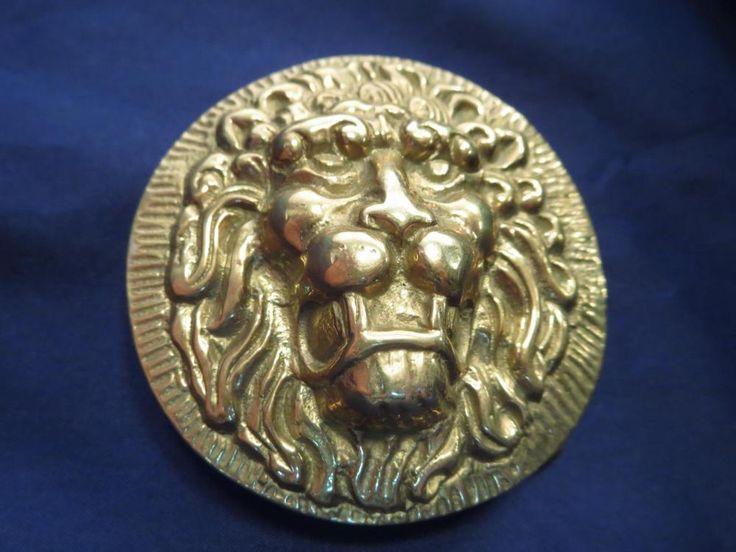 Vintage Solid Brass Lion Heavy Western Jeans Belt Buckle * #Unbranded