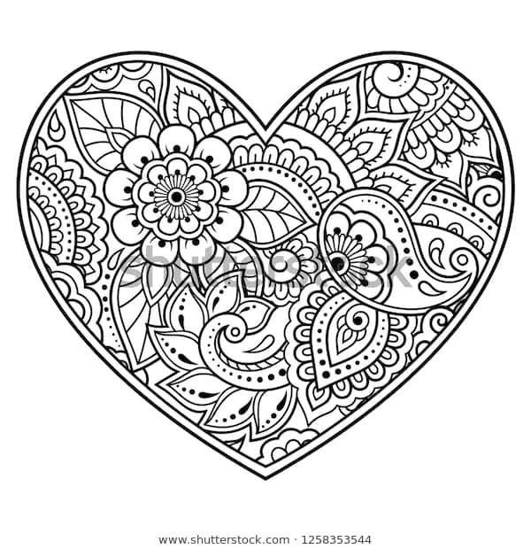 Find Mehndi Flower Pattern Form Heart Henna Stock Images In Hd And