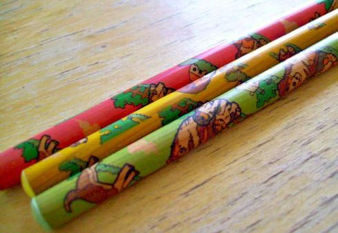 80s Kirin Puppy Dogs Novelty Pencils Green Yellow by JirjiMirji, €4.90