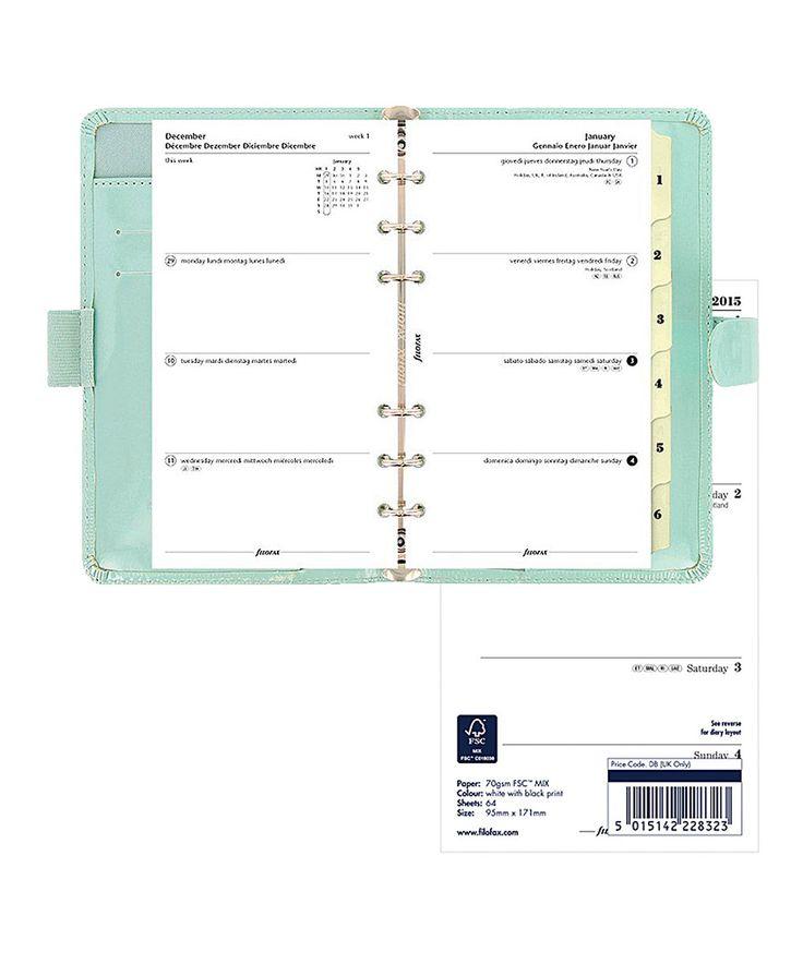 Filofax Patent Compact Organizer & 2015-2016 Calendar in Duck Egg