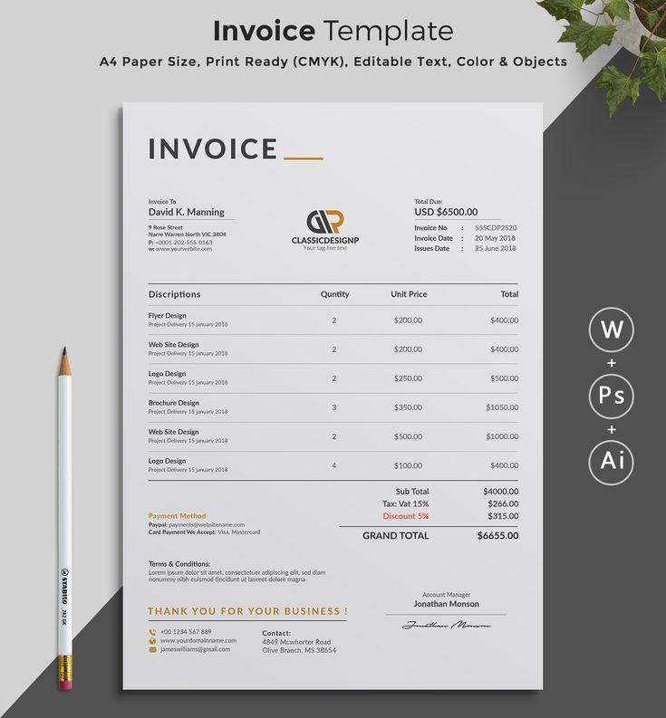 printable invoice estimate template  editable template  invoice template  billing template  word