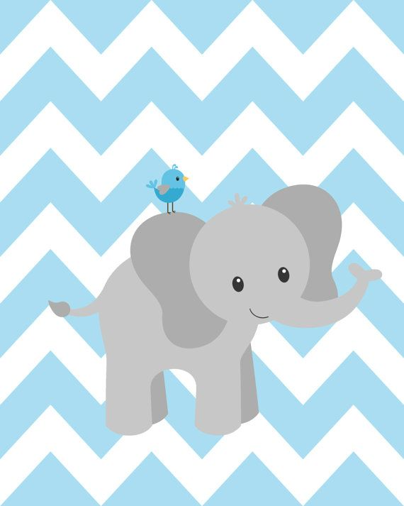 Elephant nursery decorations blue and gray nursery by ChicWallArt
