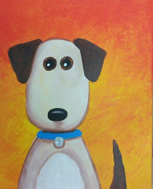 Easy Dog Painting Age 5 In 2019 Easy Canvas Art Dog