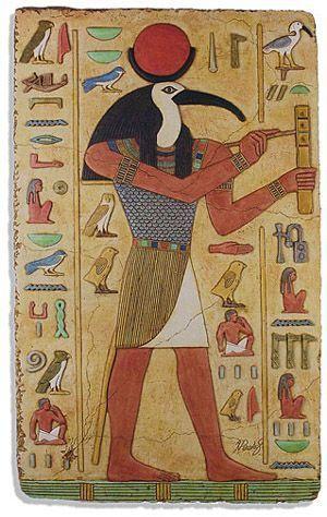 Thot dios egipcio de la sabiduria con cabeza de ibis                                                                                                                                                                                 Más